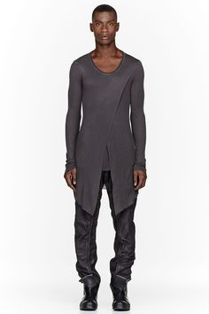 Visions of the Future: JULIUS Charcoal V-Neck Draped Layered Fraise Shirt