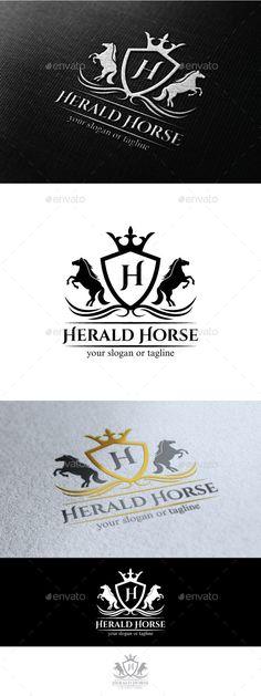Horse Herald: Logo Crests Design Template by victipedia. Custom Logo Design, Custom Logos, Graphic Design, Logo Branding, Branding Design, Fantasy Logo, Draw Logo, Church Logo, Horse Logo