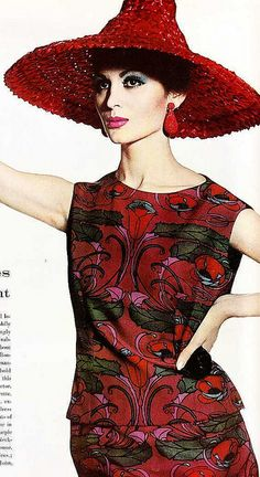 red printed dress 60s