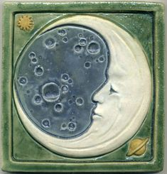 Enjoy a bit of whimsy inside your home with this 6 inch square Man in the Moon ceramic tile by Ravenstone Tiles. The moon and planets are