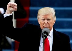 President Donald Trump raises a fist after his inauguration on the West Front of the U.S. Capitol on January 20, 2017 in Washington, DC.