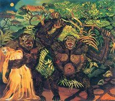 Antonio Ligabue, Gorilla con donna, olio su tavola di faesite, 1957 - CoSA | Contemporary Sacred Art