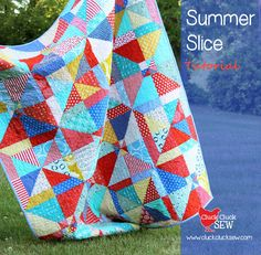 Summer Slice Quilt Tutorial - Cluck Cluck Sew - This looks like a fun and easy pattern to make from scraps! Can be resized (smaller rectangles/strips) for a smaller block and top. Great for a baby quilt!