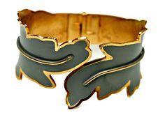 Clamper  Leaf  bracelet. Grey Enamel and by serendipitytreasure