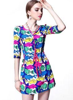 Morpheus Boutique  - Colorful Pattern V Neck 3/4 Sleeve Celebrity Belted Dress