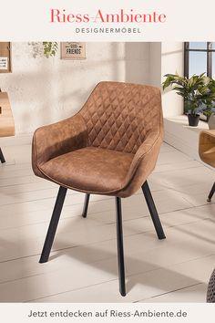 Dieser zeitlose Stuhl im angesagten Retrostil passt wirklich in jedes Ambiente. Die gelungene Kombination aus hochwertigem Microfaserbezug und schwarzen Metallbeinen im typischen, abgespreizten Design kann vielfältig kombiniert werden und strahlt dabei Eleganz und Stilsicherheit aus. Natürlich ist die Sitzschale komfortabel gepolstert und verfügt zudem über zwei Armlehnen, die für zusätzlichen Sitzkomfort sorgen. Palermo, Retro Look, Sideboard, Accent Chairs, Vintage, Furniture, Design, Home Decor, Armchairs