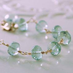 Green Amethyst Bracelet, Prasiolite Semiprecious Gemstone, Sterling Silver or Gold Filled, Mint Green, Asymmetrical Jewelry, Free Shipping on Etsy, $97.00