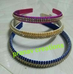 Thread Jewellery, Hair Bands, Silk Thread, Jewelry Design, Bracelets, Kids, Color, Fashion, Bangle Bracelets