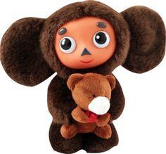 Cheburashka with Teddy Bear, Soft Plush Russian Speaking Toy