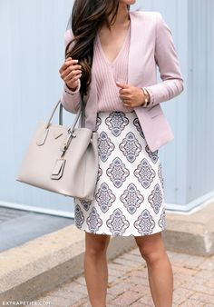 Love this feminine look! Pastel pink top and matching blazer FTW.