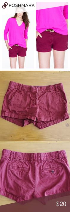 J. Crew Burgundy Chino Shorts Size 6 J. Crew Burgundy Chino Shorts Size 6. Stretchy. Good Condition. Back pockets one side has a button and one doesn't, that's the style of the short.  Length 10 in Waist flatlay 16 in Inseam 3 in  Ships 1-3 Days Offers Welcome J. Crew Shorts