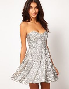 ASOS Strapless Prom Dress in Sequin at asos.com on Wanelo