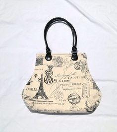 French Script Fabric Handbag Purse Paris Eiffel by SadiesSnippets
