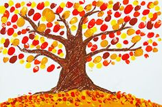 Hand painting for kids Step 4 Finger Paint Fall Tree craft Foam Crafts, Craft Stick Crafts, Craft Ideas, Craft Paint, Templates Printable Free, Free Printables, Tree Templates, Applique Templates, Applique Patterns