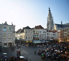 De Grote Markt in Breda. Our center of town where the sidewalk cafe's, restaurants, and shops are are always busy especially in the Summer. Sidewalk Cafe, Great Places, Holland, Restaurants, Shops, Street View, Spaces, Mansions, House Styles
