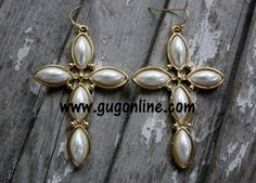 Gold and Pearl Cross Earrings-Shop now at www.gugonline.com use the code GUGREPCOURT every time and anytime you order for 10% off your entire purchase!