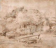 Rembrandt Drawings | Rembrandt, Farmhouse beneath trees, ca. 1652. Cambridge, Fitzwilliam ...