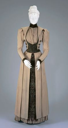 I love this. I really wish the source link worked so that I could find out more about it and what collection it is in. | WALKING SUIT: BODICE AND SKIRT  Circa 1890