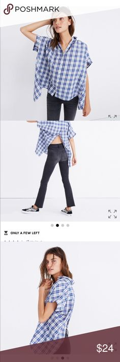 Madewell plaid top -sz M NWT PRODUCT DETAILS Our best-selling shirred shirt gets even cooler with an overlapping open back that reveals a subtle touch of skin. A feminine take on a classic button-down in a timeless blue plaid.  Slightly oversized fit. Cotton. Machine wash. Import. Item G7371. Madewell Tops Blouses