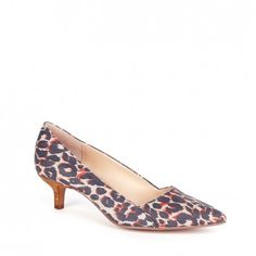 Leopard printed kitten heel pump with pointed toe