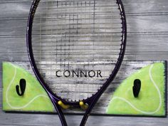 Tennis Racket Hanger Personalized Player Rack  Hooks MTO Custom Handpainted Name Team Color Room Decor Kids/ Teens/ Childs Room Olympics