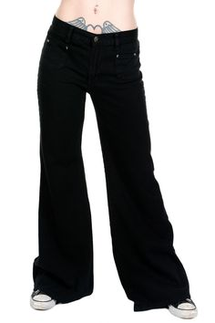 LADIES WOMENS RETRO 60's 70's DISCO NEW VINTAGE BLACK BELLBOTTOM HIPPY FLARES in Clothes, Shoes & Accessories, Women's Clothing, Jeans | eBay