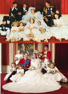 Official royal wedding portraits -- Prince Charles and Lady Diana Spencer on July 29, 1981;  Prince William and Catherine Middleton April 29, 2011.