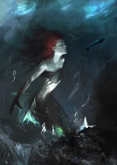 #mermaid #sea #ariel #disney #deepsea #deep #abstract #fish #digital #painting #photoshop