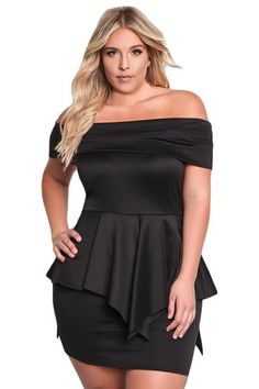 8798979d9fb Black Plus Size Fold Over Off Shoulder Peplum Dress LAVELIQ Curvy Dress