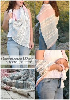 Daydreamer Crochet Wrap Pattern - The Daydreamer Crochet Wrap Pattern is make with some of the softest acrylic yarn ever and lemme tell you... this wrap really does feel like a dream! Crochet Coat, Crochet Clothes, Crochet Scarves, Crochet Dolls, Crochet Style, Crochet Stitches Patterns, Crochet Wrap Pattern, Crochet Designs, Crochet Ideas
