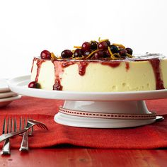 Crustless Cheesecake with Cranberry Sauce