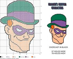 Hero Heads #1- The Riddler plastic canvas pattern by Michael Kramer