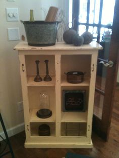Rustic shelving. Perfect for displaying prized items, or books.