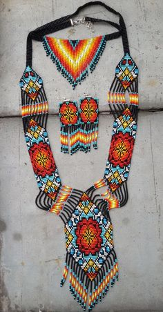 set of jewelry 3 pieces, necklace and earrings set, Native American style, Christmas gift Native Beading Patterns, Beaded Necklace Patterns, Beadwork Designs, Seed Bead Patterns, Native Beadwork, Native American Beadwork, Native American Fashion, Bead Embroidery Jewelry, Beaded Embroidery