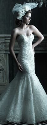 2012 Couture Bridal by Allure - White & Silver Satin & Organza Lace Applique Strapless Drop Waist Wedding Gown - 2 - 32