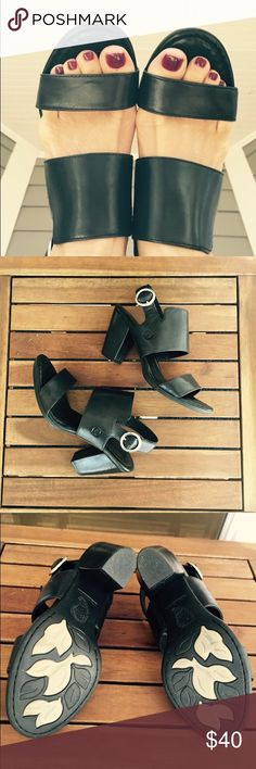 """Born Black Sandals Beautiful pair of Born sandals with leather upper and lining. Stylish and comfortable  sandal with 3"""" heel. Like new, only worn a few times. Born Shoes Sandals"""