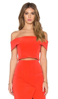 NICHOLAS Technical Bonded Off Shoulder Crop Top in Tangerine | REVOLVE