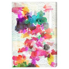 Hand-stretched multicolor canvas art with an abstract floral motif. Made in the USA.   Product: Wall artConstruction...