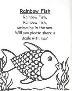 Rainbow Fish Preschool Worksheets rainbow fish rhymes and songs for children pinterest