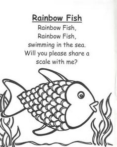 Rainbow Fish Preschool Worksheets rainbow fish rhymes and songs for children pinterest