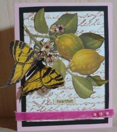 Embossed card with vintage image I fussy cut. Velvet ribbon by Maya Road. I added stickles to the flowers. The butterfly I fussy cut is by GCD. Vintage Scrapbook, Scrapbook Layouts, Velvet Ribbon, Vintage Images, Maya, Butterfly, Flowers, Projects, Cards