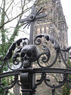 Skull on gate, Vysehrad Cemetery in Prague, Czech Republic