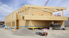 Laurentian Architecture Laurentienne: A school built out of Cross-Laminated Timber Timber Architecture, School Building, Wooden House, Built Environment, Engineered Wood, Pavilion, Beams, Commercial, Tech