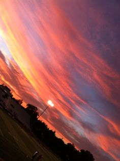 Beautiful sunset under the lights