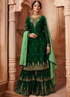 Shop dark green satin,georgette pakistani sharara suit , freeshipping all over the world , Item code Indian Fashion Salwar, Indian Fashion Modern, Latest Indian Fashion Trends, Pakistani Sharara, Pakistani Dresses, Indian Dresses, Pakistani Suits, Punjabi Suits, Anarkali