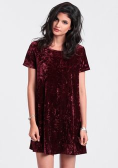 Totally 90s burgundy shift dress rendered in crushed velvet and featuring short sleeves and a rounded neckline. - dresses, pink, chiffon, summer, spring, pretty dress *ad