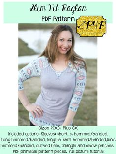 P4P's newest release patterns for Pirates pdf sewing pattern women's sleeve fit raglan shirt tunic curved elbow patches juniors plus