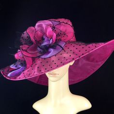 Womens Kentucky Derby Hat,Pink and Black,Derby Hat,Dress Hat , Wedding Hat Wide Brim Hat Tea Party Hat Ascot