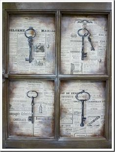 Creative DIY Vintage Window Home Interior Makeover Ideas 09 Old Window Projects, Key Projects, Diy Projects To Try, Skeleton Key Crafts, Old Key Crafts, Skeleton Keys, Vintage Windows, Old Windows, Vintage Home Decor