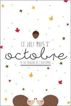 Calendrier & carte postale du mois d'octobre 2016 à imprimer - Printable - Freebie